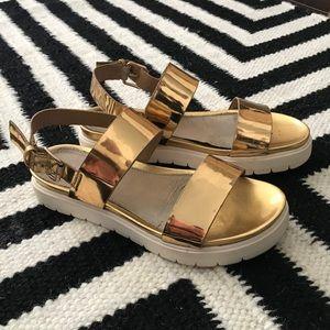 Aldo Shoes - Metallic Flatform Sandal